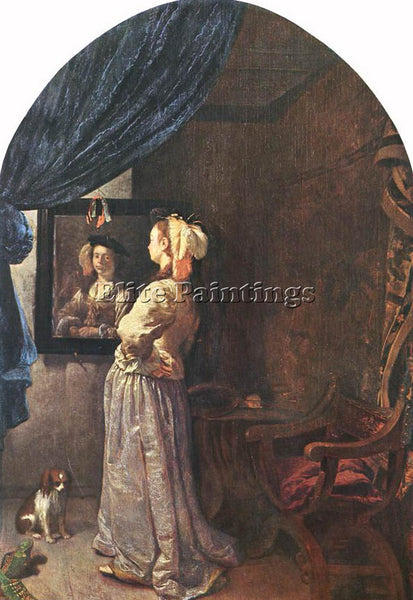 FRANS VAN MIERIS WOMAN BEFORE THE MIRROR ARTIST PAINTING REPRODUCTION HANDMADE