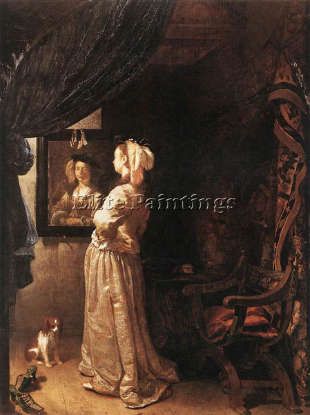 FRANS VAN MIERIS WOMAN BEFORE THE MIRROR DETAIL ARTIST PAINTING REPRODUCTION OIL