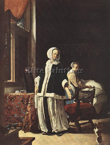 FRANS VAN MIERIS YOUNG WOMAN IN THE MORNING ARTIST PAINTING HANDMADE OIL CANVAS