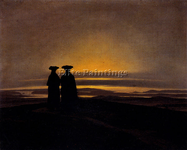 CASPAR DAVID FRIEDRICH SUNSET ARTIST PAINTING REPRODUCTION HANDMADE CANVAS REPRO
