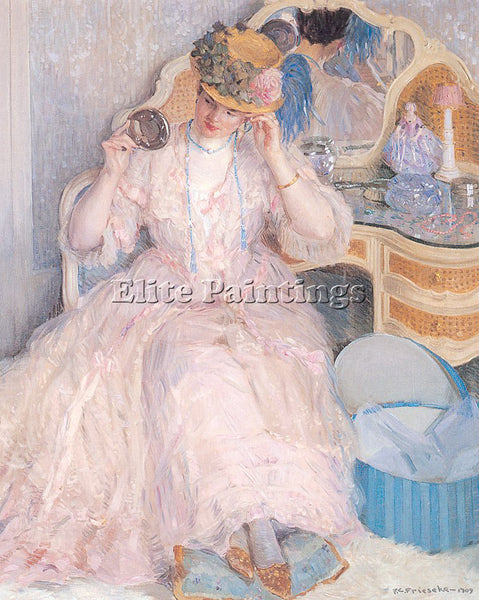 FREDERICK FRIESEKE LADY TRYING ON A HAT ARTIST PAINTING REPRODUCTION HANDMADE