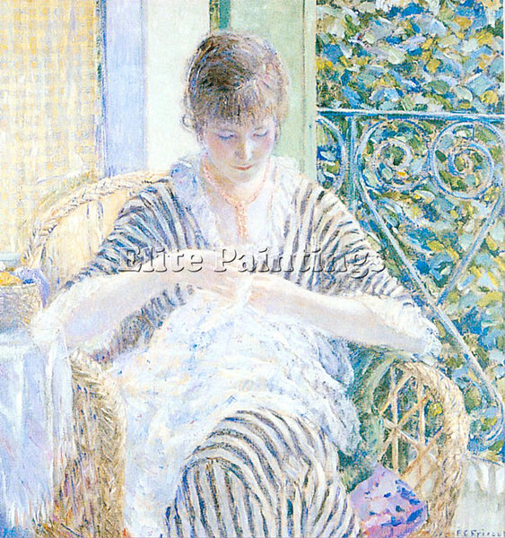 FREDERICK FRIESEKE ON THE BALCONY ARTIST PAINTING REPRODUCTION HANDMADE OIL DECO
