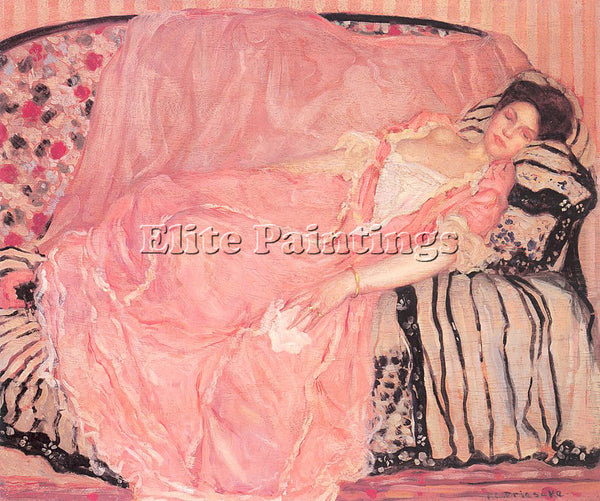 FREDERICK FRIESEKE PORTRAIT OF MADAME GELY ON THE COUCH ARTIST PAINTING HANDMADE