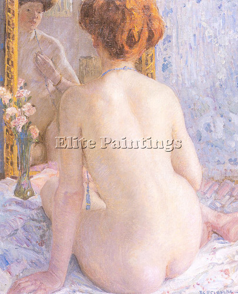 FREDERICK FRIESEKE REFLECTIONS MARCELLE ARTIST PAINTING REPRODUCTION HANDMADE