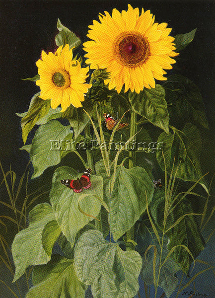DENMARK FRISTRUP NIELS SUNFLOWERS ARTIST PAINTING REPRODUCTION HANDMADE OIL DECO