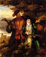 WILLIAM POWELL FRITH POWELL HENRY VIII AND ANNE BOLEYN DEER SHOOTING OIL CANVAS