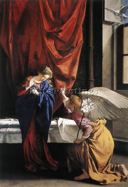 ORAZIO GENTLESCHI ANNUNCIATION ARTIST PAINTING REPRODUCTION HANDMADE OIL CANVAS