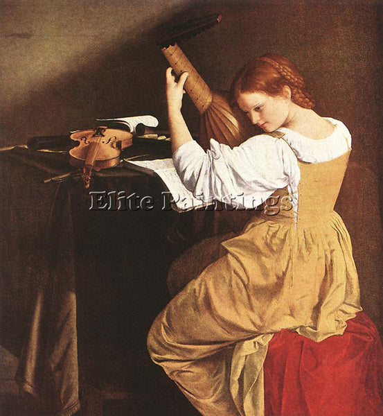 ORAZIO GENTLESCHI LUTE PLAYER ARTIST PAINTING REPRODUCTION HANDMADE CANVAS REPRO