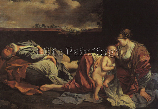 ORAZIO GENTLESCHI REST ON THE FLIGHT INTO EGYPT ARTIST PAINTING REPRODUCTION OIL