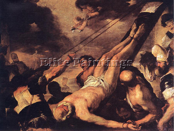 LUCA GIORDANO CRUCIFIXION OF ST PETER ARTIST PAINTING REPRODUCTION HANDMADE OIL
