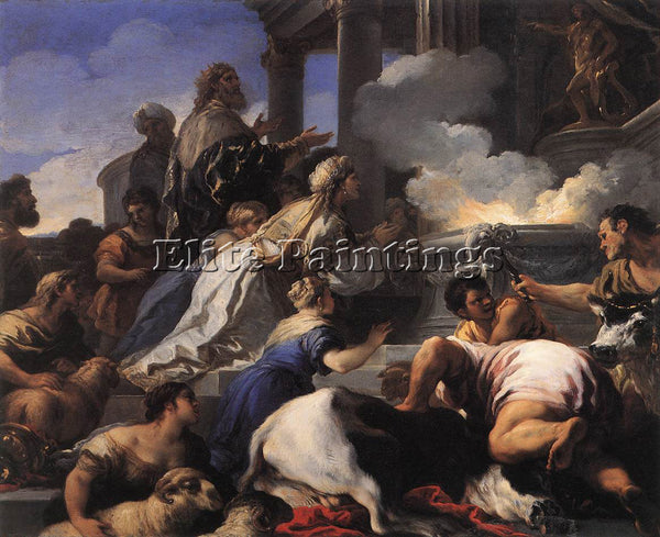 LUCA GIORDANO PSYCHES PARENTS OFFERING SACRIFICE TO APOLLO ARTIST PAINTING REPRO