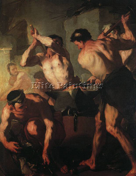 LUCA GIORDANO THE FORGE OF VULCAN ARTIST PAINTING REPRODUCTION HANDMADE OIL DECO