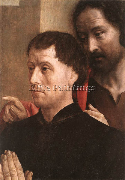 HUGO VAN DER GOES PORTAIT OF A DONOR WITH ST JOHN THE BAPTIST PAINTING HANDMADE