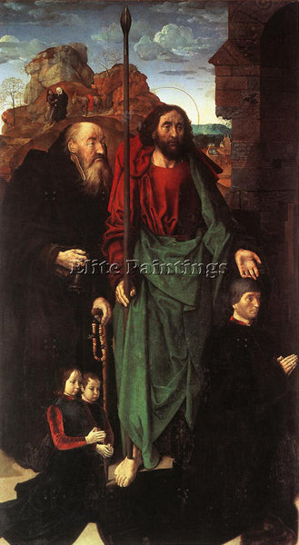 HUGO VAN DER GOES STS ANTHONY AND THOMAS WITH TOMMASO PORTINARI ARTIST PAINTING