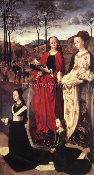 HUGO VAN DER GOES STS MARGARET AND MARY MAGDALENE WITH MARIA PORTINARI PAINTING