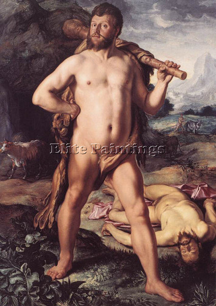 HENDRICK GOLTZIUS HERCULES AND CACUS ARTIST PAINTING REPRODUCTION HANDMADE OIL