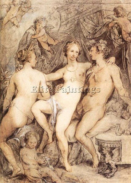 HENDRICK GOLTZIUS VENUS BETWEEN CERES AND BACCHUS ARTIST PAINTING REPRODUCTION