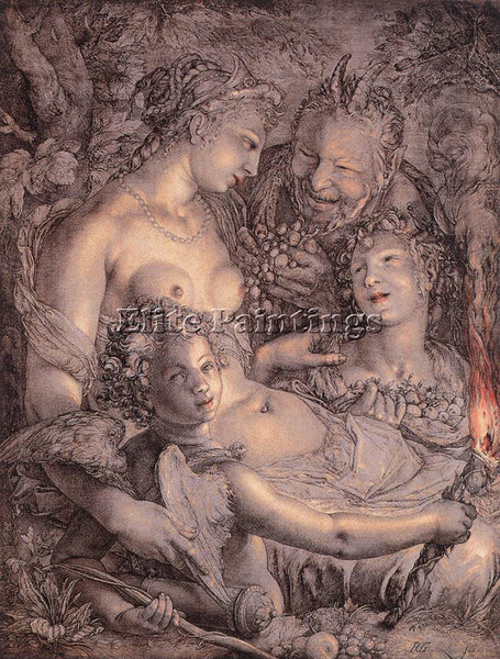 HENDRICK GOLTZIUS WITHOUT CERES AND BACCHUS VENUS WOULD FREEZE PAINTING HANDMADE
