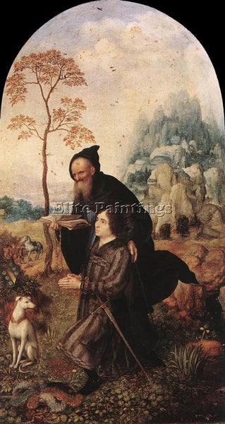 JAN GOSSAERT ST ANTHONY WITH A DONOR ARTIST PAINTING REPRODUCTION HANDMADE OIL
