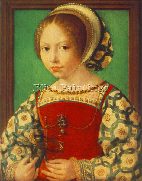 JAN GOSSAERT YOUNG GIRL WITH ASTRONOMIC INSTRUMENT ARTIST PAINTING REPRODUCTION