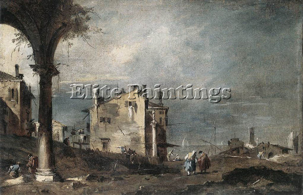 FRANCESCO GUARDI CAPRICCIO WITH VENETIAN MOTIFS ARTIST PAINTING REPRODUCTION OIL
