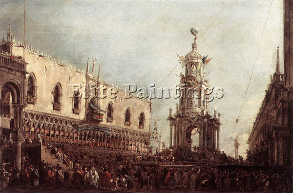 FRANCESCO GUARDI CARNIVAL THURSDAY ON THE PIAZZETTA ARTIST PAINTING REPRODUCTION