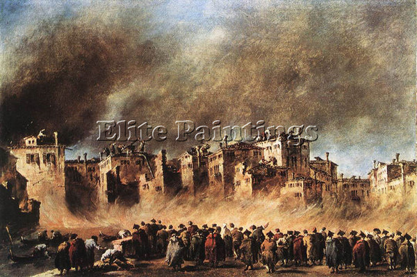FRANCESCO GUARDI FIRE IN THE OIL DEPOT AT SAN MARCUOLA ARTIST PAINTING HANDMADE