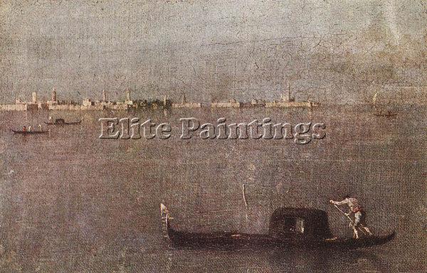 FRANCESCO GUARDI GONDOLA IN THE LAGOON ARTIST PAINTING REPRODUCTION HANDMADE OIL