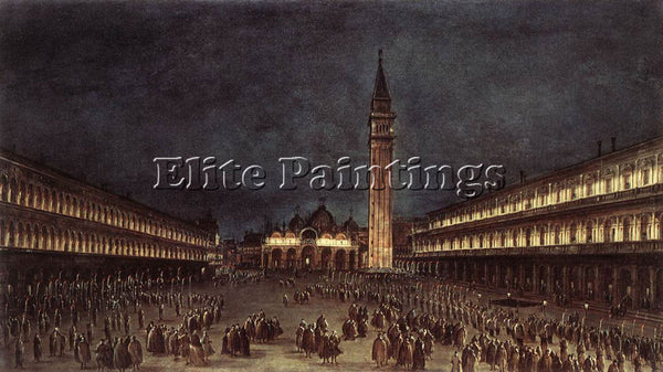 FRANCESCO GUARDI NIGHTTIME PROCESSION IN PIAZZA SAN MARCO ARTIST PAINTING CANVAS