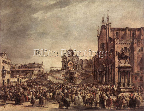 FRANCESCO GUARDI POPE PIUS VI BLESSING PEOPLE ON CAMPO SANTI GIOVANNI E PAOLO
