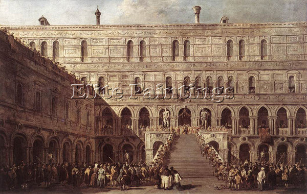 FRANCESCO GUARDI THE CORONATION OF THE DOGE ARTIST PAINTING HANDMADE OIL CANVAS