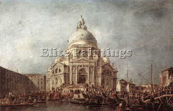 FRANCESCO GUARDI THE DOGE AT THE BASILICA OF LA SALUTE ARTIST PAINTING HANDMADE