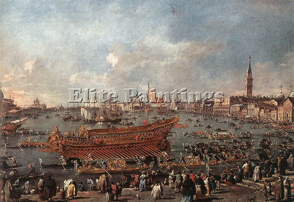 FRANCESCO GUARDI THE DOGE ON THE BUCINTORO NEAR THE RIVA DI SANT ELENA PAINTING