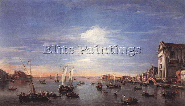 FRANCESCO GUARDI THE GIUDECCA CANAL WITH THE ZATTERE ARTIST PAINTING HANDMADE