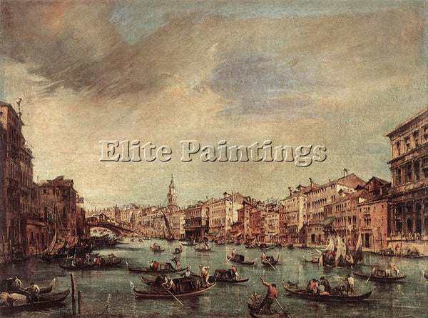 FRANCESCO GUARDI THE GRAND CANAL LOOKING TOWARD THE RIALTO BRIDGE ARTIST CANVAS