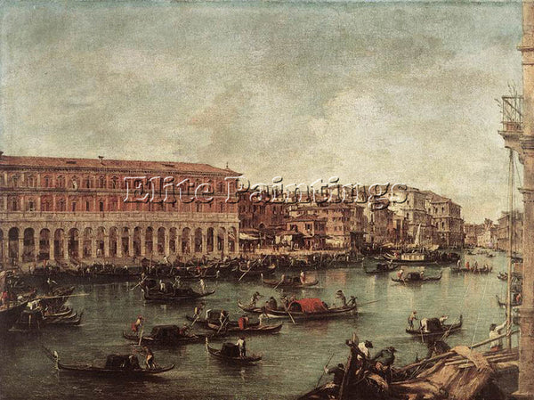 FRANCESCO GUARDI THE GRAND CANAL AT TH FISH MARKET PESCHERIA ARTIST PAINTING OIL