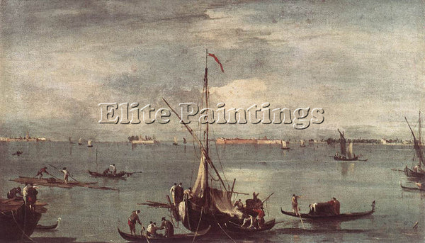 FRANCESCO GUARDI THE LAGOON WITH BOATS GONDOLAS AND RAFTS ARTIST PAINTING CANVAS