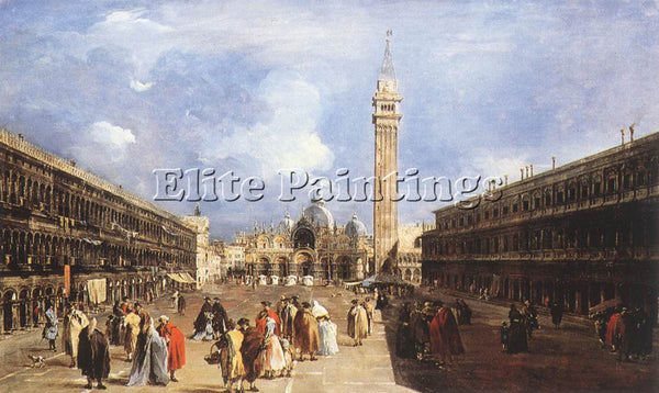 FRANCESCO GUARDI THE PIAZZA SAN MARCO TOWARDS THE BASILICA ARTIST PAINTING REPRO