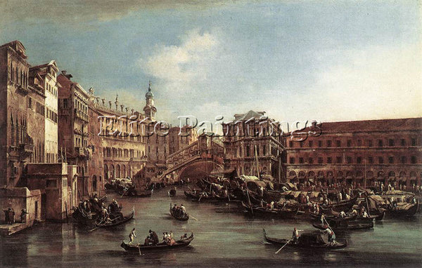 FRANCESCO GUARDI THE RIALTO BRIDGE WITH THE PALAZZO DEI CAMERLENGHI PAINTING OIL