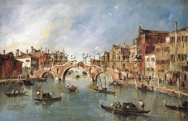FRANCESCO GUARDI THE THREE ARCHED BRIDGE AT CANNAREGIO ARTIST PAINTING HANDMADE