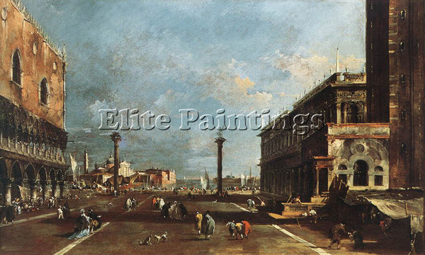 FRANCESCO GUARDI VIEW PIAZZETTA SAN MARCO TOWARDS SAN GIOGIO MAGGIORE ARTIST OIL