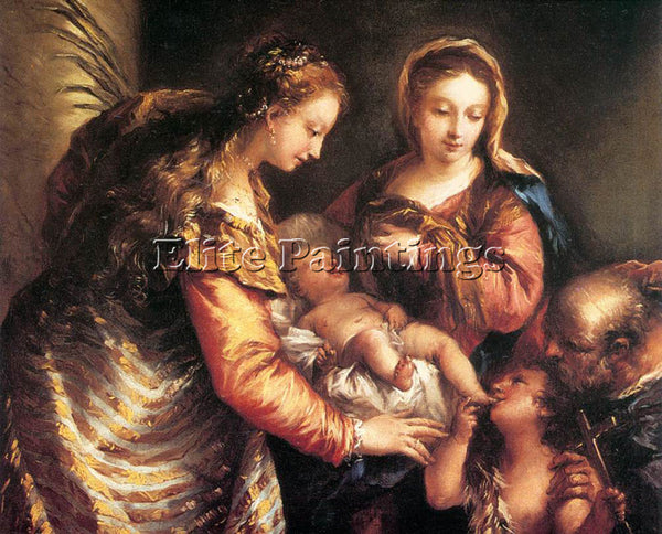 GIOVANNI ANTONIO GUARDI HOLY FAMILY WITH ST JOHN BAPTIST AND ST CATHERINE CANVAS
