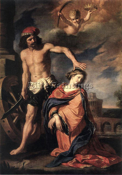 GUERCINO  MARTYRDOM OF ST CATHERINE ARTIST PAINTING REPRODUCTION HANDMADE OIL