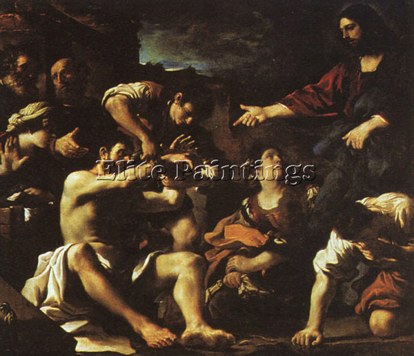 GUERCINO  RAISING LAZARUS ARTIST PAINTING REPRODUCTION HANDMADE OIL CANVAS REPRO