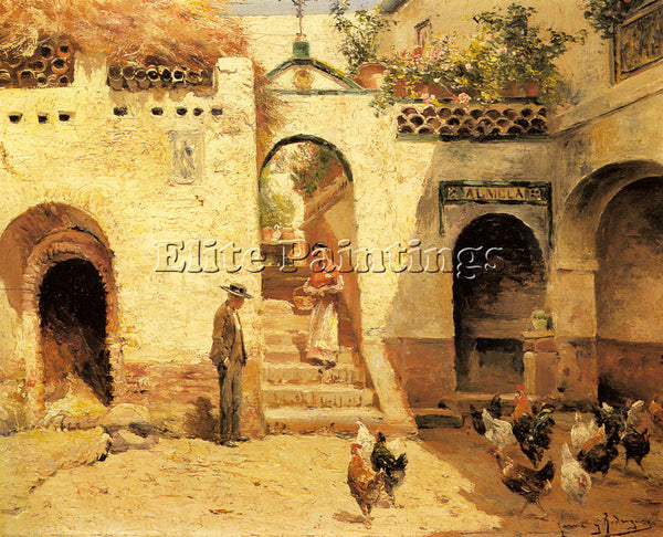 MANUEL GARCIA Y RODRIGUEZ FEEDING POULTRY IN A COURTYARD ARTIST PAINTING CANVAS
