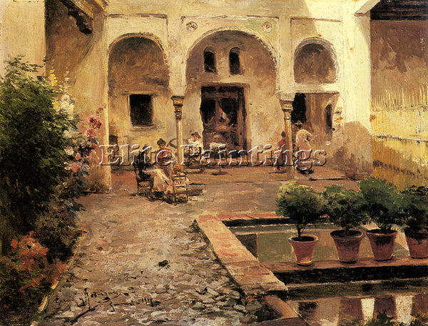 MANUEL GARCIA Y RODRIGUEZ FIGURES IN A SPANISH COURTYARD ARTIST PAINTING CANVAS