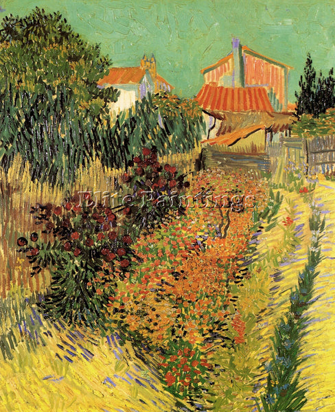 VAN GOGH GARDEN BEHIND A HOUSE ARTIST PAINTING REPRODUCTION HANDMADE OIL CANVAS
