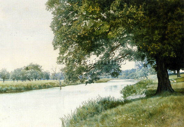 BRITISH GARDEN WILLIAM FRASER THE RIVER OUSE BEDFORDSHIRE ARTIST PAINTING CANVAS
