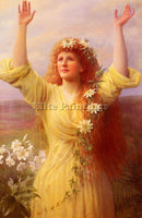 BRITISH GASKELL GEORGE ARTHUR RISING SPRING ARTIST PAINTING HANDMADE OIL CANVAS