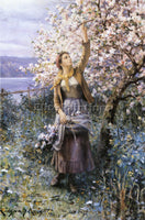 DANIEL RIDGWAY KNIGHT GATHERING APPLE BLOSSOMS ARTIST PAINTING REPRODUCTION OIL